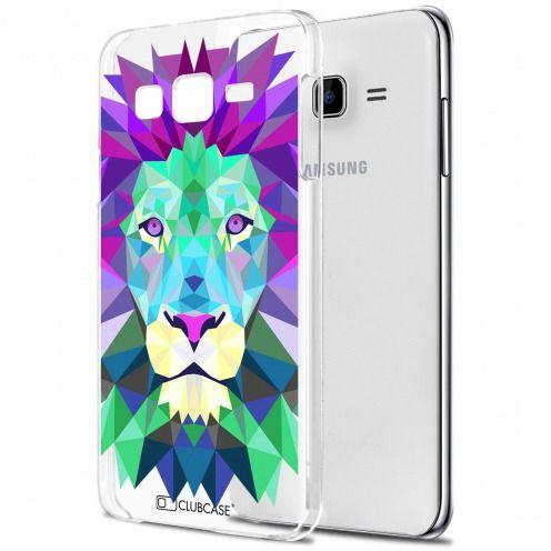Zoom sur Coque Crystal Galaxy J7 (J700) Extra Fine Polygon Animals - Lion