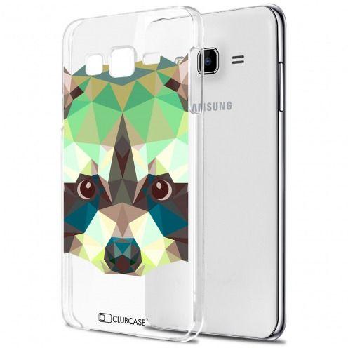 Zoom sur Coque Crystal Galaxy J7 (J700) Extra Fine Polygon Animals - Raton Laveur