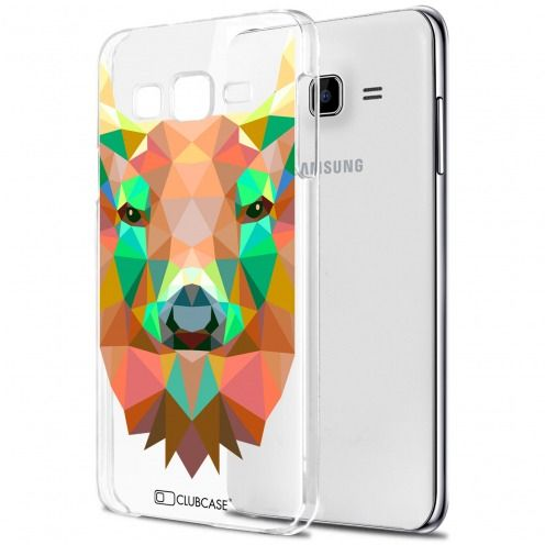Zoom sur Coque Crystal Galaxy J5 (J500) Extra Fine Polygon Animals - Cerf