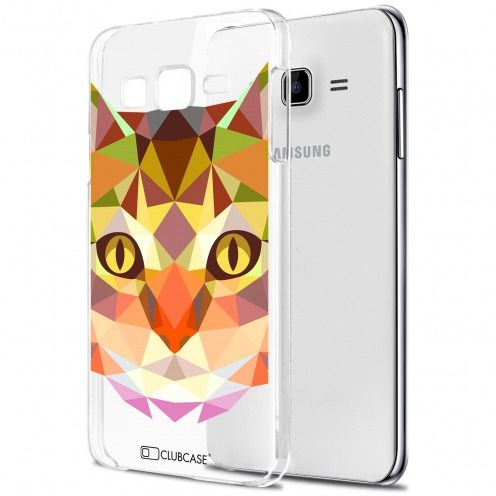 Zoom sur Coque Crystal Galaxy J5 (J500) Extra Fine Polygon Animals - Chat