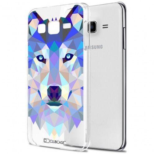 Zoom sur Coque Crystal Galaxy J7 (J700) Extra Fine Polygon Animals - Loup