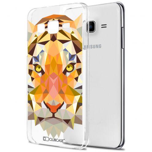 Zoom sur Coque Crystal Galaxy J7 (J700) Extra Fine Polygon Animals - Tigre