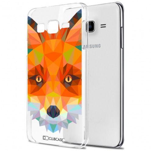 Zoom sur Coque Crystal Galaxy J7 (J700) Extra Fine Polygon Animals - Renard