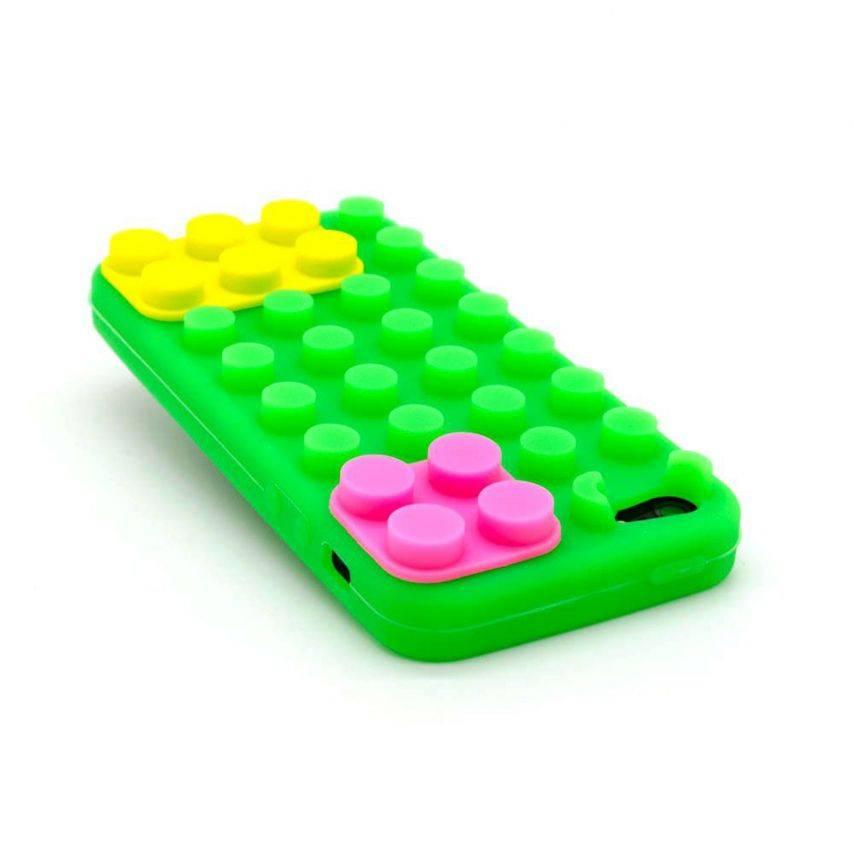 "Vue complémentaire de Coque Blocs Design ""LEGO"" Verte, jaune et rose iPhone 5"