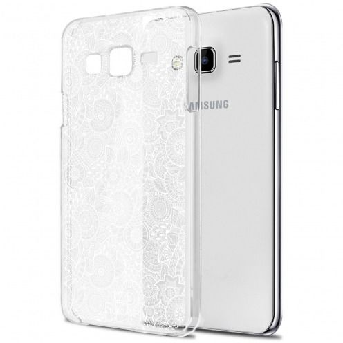 Zoom sur Coque Crystal Galaxy J7 (J700) Extra Fine Texture Dentelle Florale - Blanche