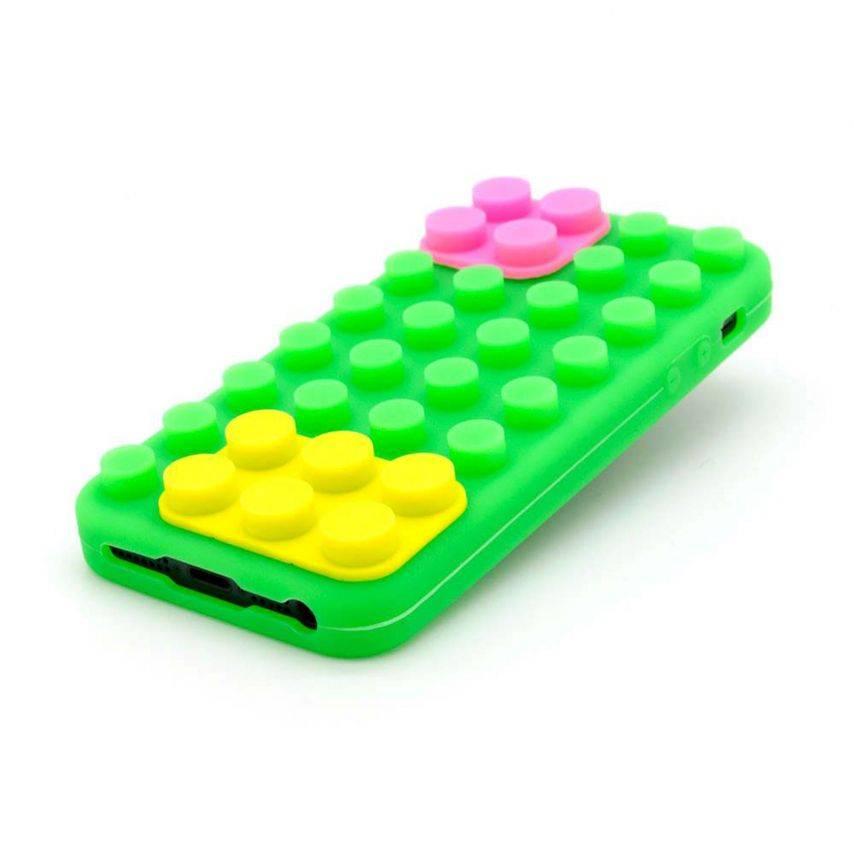 "Vue portée de Coque Blocs Design ""LEGO"" Verte, jaune et rose iPhone 5"