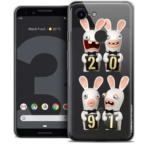 """Coque Gel Google Pixel 3 (5.5"""") Extra Fine Lapins Crétins™ - New Year"""