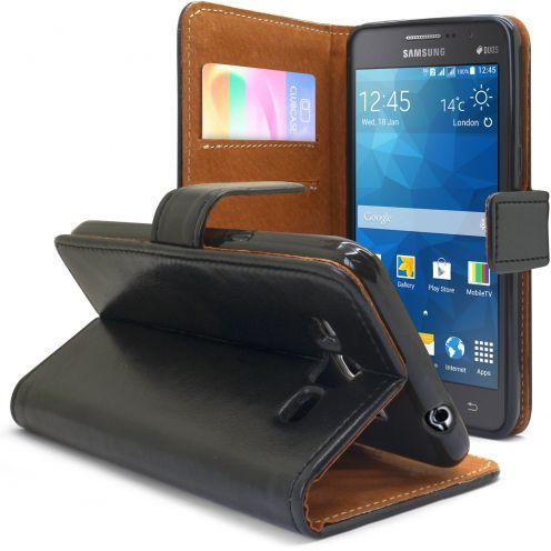 Vue complémentaire de Etui Italia Folio Stand Samsung Galaxy Grand Prime Cuir Véritable Bovin Noir