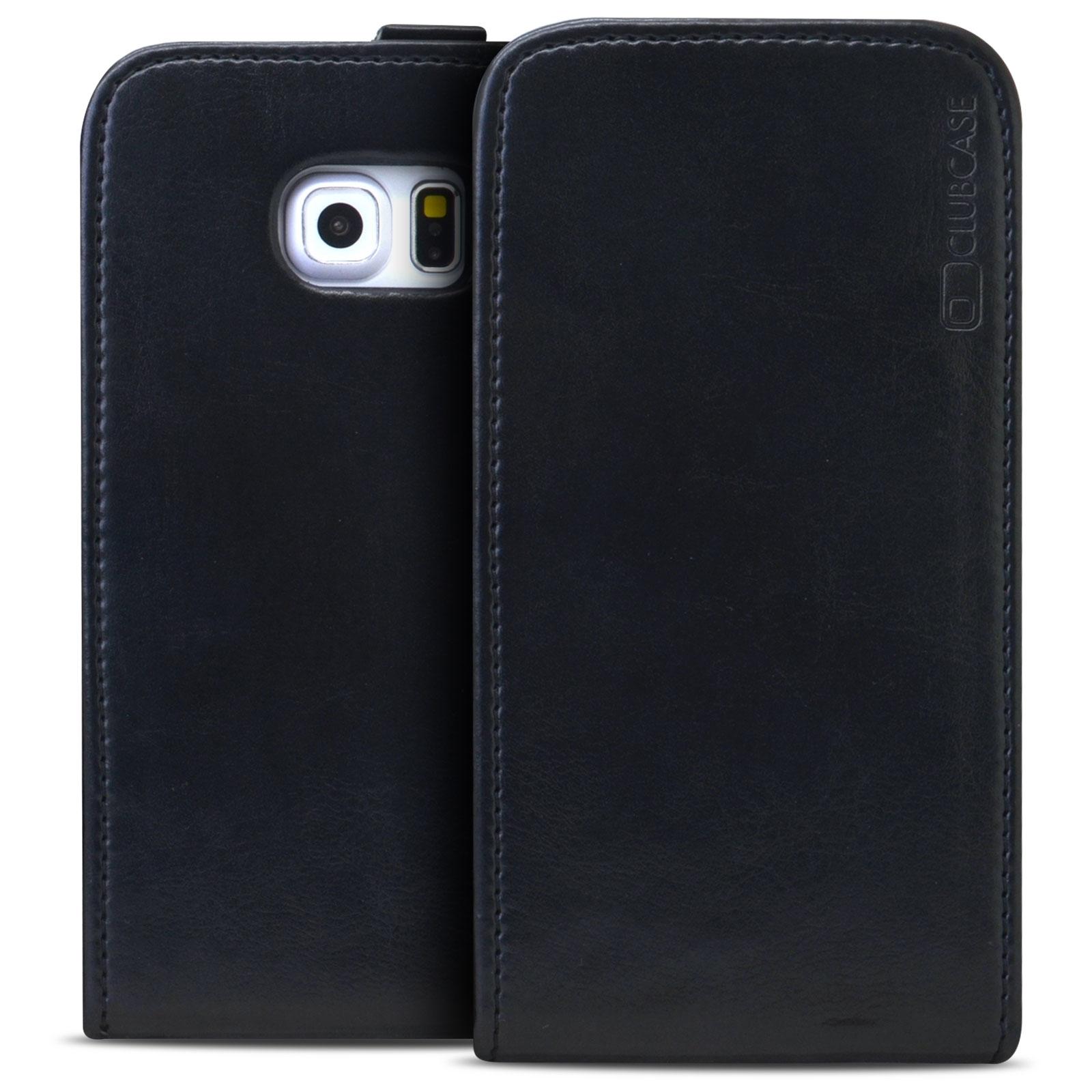 Coque Rabat Vertical Souple Samsung Galaxy S6 Edge Cuir Véritable Noir