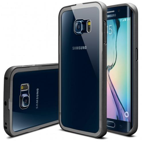 Vue principale Bumper Samsung Galaxy S6 Edge +/Plus Glass Aluminium Noir