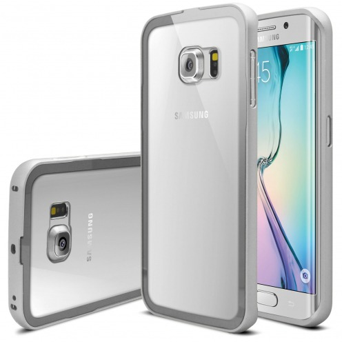 Vue principale Bumper Samsung Galaxy S6 Edge +/Plus Glass Aluminium Argent