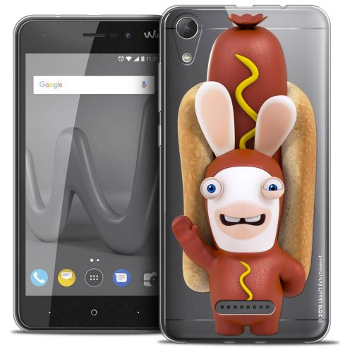 """Coque Gel Wiko Lenny 4 (5"""") Extra Fine Lapins Crétins™ - Hot Dog Crétin"""