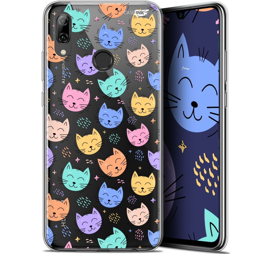 "Coque Crystal Gel Huawei P Smart 2019 (6.21"") Extra Fine Motif - Chat Dormant"