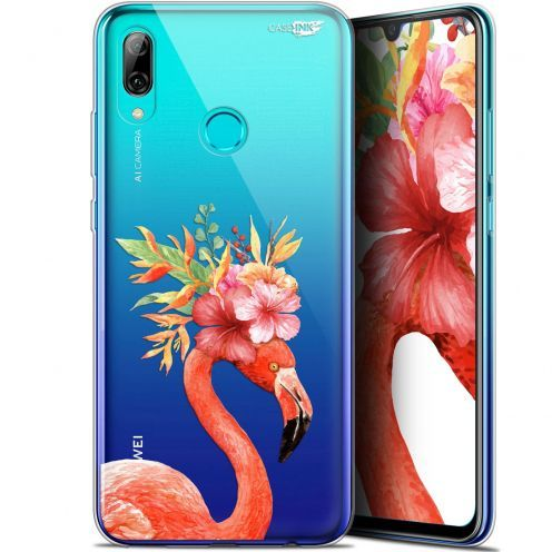 "Coque Crystal Gel Huawei P Smart 2019 (6.21"") Extra Fine Motif - Flamant Rose Fleuri"