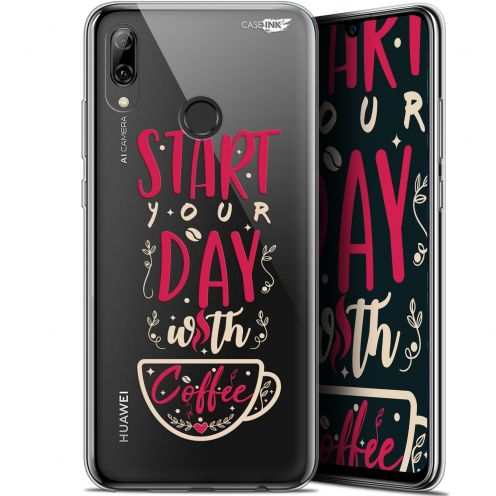 """Coque Crystal Gel Huawei P Smart 2019 (6.21"""") Extra Fine Motif -  Start With Coffee"""