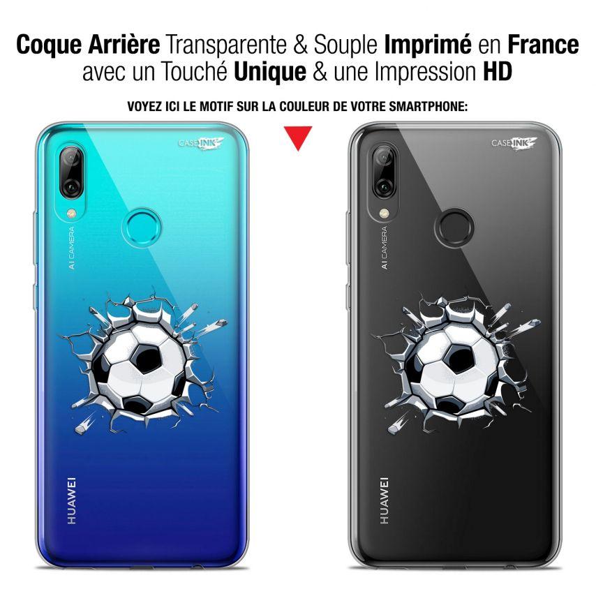 "Coque Crystal Gel Huawei P Smart 2019 (6.21"") Extra Fine Motif - Le Balon de Foot"