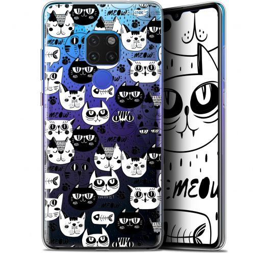 "Coque Crystal Gel Huawei Mate 20 (6.5"") Extra Fine Motif -  Chat Noir Chat Blanc"