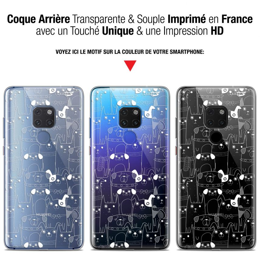 "Coque Crystal Gel Huawei Mate 20 (6.5"") Extra Fine Motif - Chien Blanc"