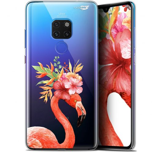 "Coque Crystal Gel Huawei Mate 20 (6.5"") Extra Fine Motif -  Flamant Rose Fleuri"