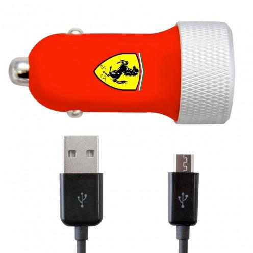 Chargeur Voiture Allume Cigare Ferrari® 2xUSB 2.1A + Câble Micro USB