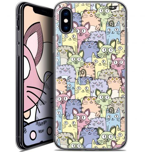 "Coque Crystal Gel Apple iPhone Xs / X (5.8"") Extra Fine Motif - Foule de Chats"