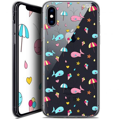 "Coque Crystal Gel Apple iPhone Xs / X (5.8"") Extra Fine Motif - Baleine à la Plage"