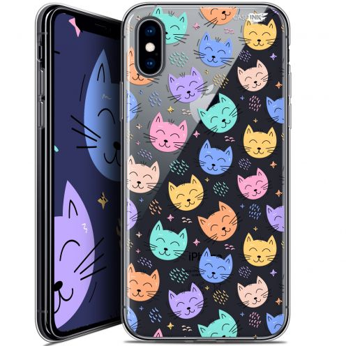"Coque Crystal Gel Apple iPhone Xs / X (5.8"") Extra Fine Motif -  Chat Dormant"