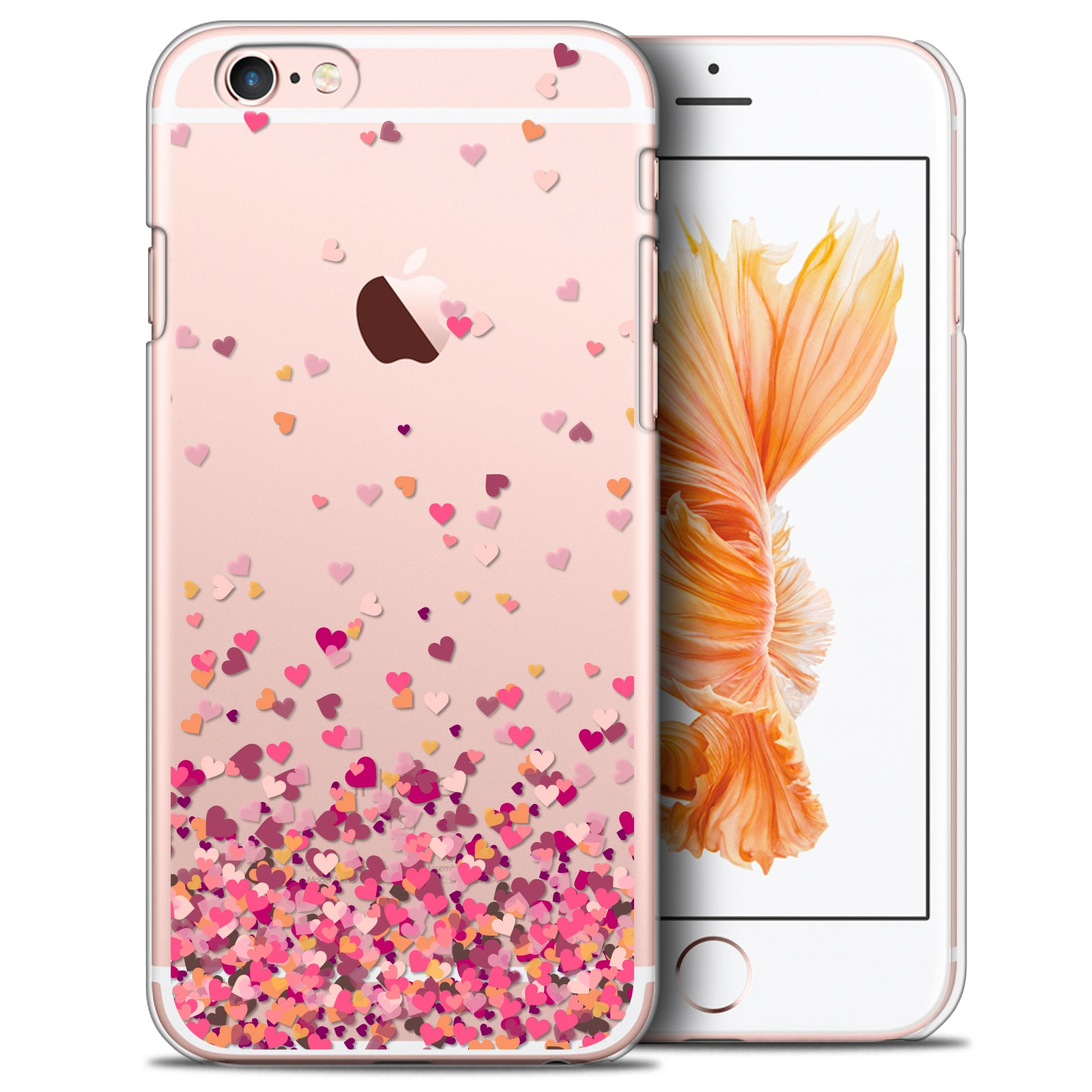 coque crystal iphone 6 6s plus 5 5 extra fine design made in france heart flakes. Black Bedroom Furniture Sets. Home Design Ideas