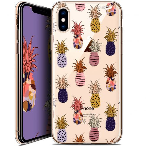 "Coque Crystal Gel Apple iPhone Xs / X (5.8"") Extra Fine Motif -  Ananas Gold"