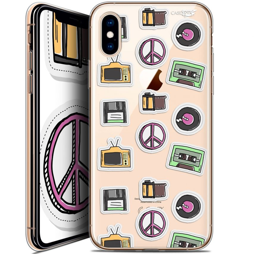 """Coque Crystal Gel Apple iPhone Xs / X (5.8"""") Extra Fine Motif - Vintage Stickers"""