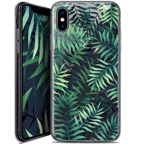 "Coque Crystal Gel Apple iPhone Xs / X (5.8"") Extra Fine Motif -  Feuilles des Tropiques"