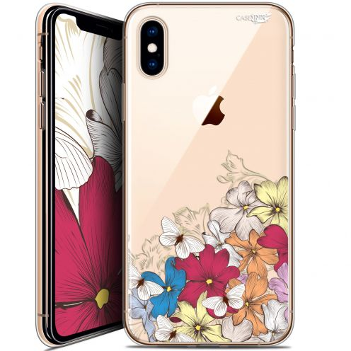 "Coque Crystal Gel Apple iPhone Xs / X (5.8"") Extra Fine Motif -  Nuage Floral"