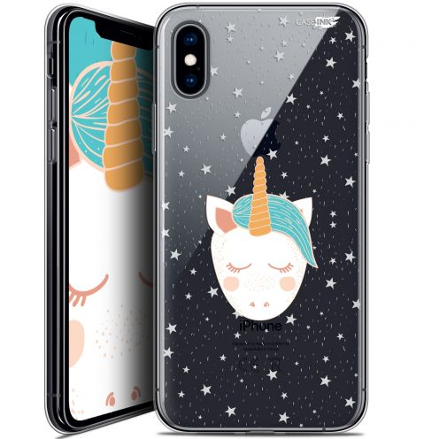 "Coque Crystal Gel Apple iPhone Xs / X (5.8"") Extra Fine Motif -  Licorne Dors"