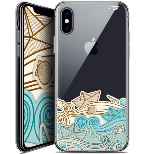 "Coque Crystal Gel Apple iPhone Xs / X (5.8"") Extra Fine Motif - Bateau de Papier"