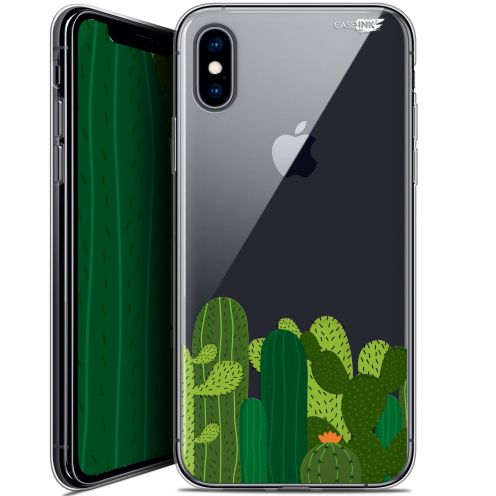 "Coque Crystal Gel Apple iPhone Xs / X (5.8"") Extra Fine Motif -  Cactus"