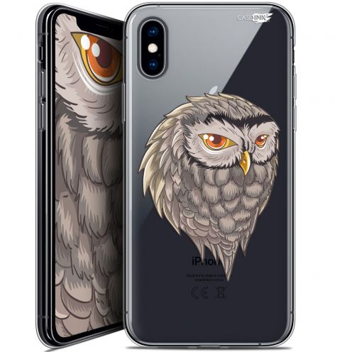"Coque Crystal Gel Apple iPhone Xs / X (5.8"") Extra Fine Motif -  Hibou Draw"