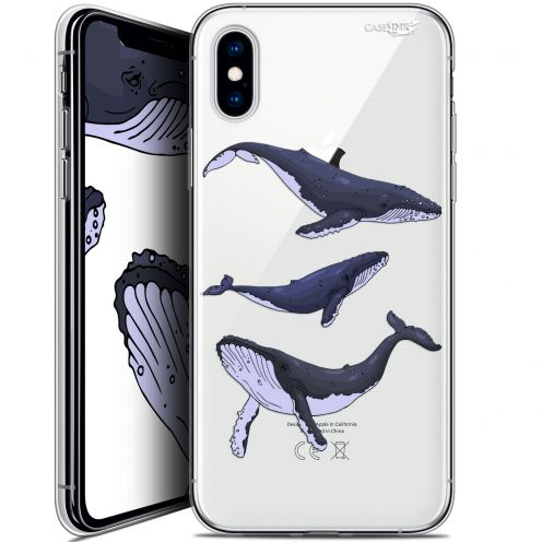 "Coque Crystal Gel Apple iPhone Xs / X (5.8"") Extra Fine Motif -  Les 3 Baleines"