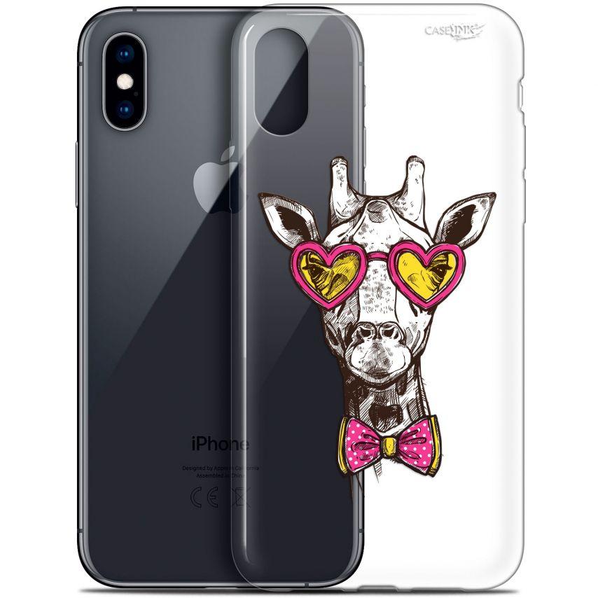 "Coque Crystal Gel Apple iPhone Xs / X (5.8"") Extra Fine Motif - Hipster Giraffe"