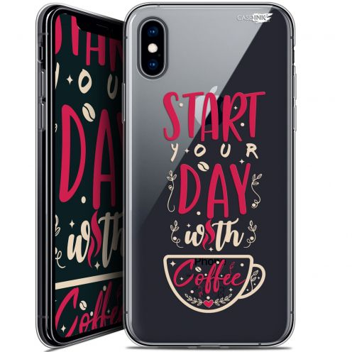 "Coque Crystal Gel Apple iPhone Xs / X (5.8"") Extra Fine Motif -  Start With Coffee"
