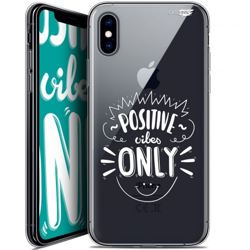 "Coque Crystal Gel Apple iPhone Xs / X (5.8"") Extra Fine Motif -  Positive Vibes Only"