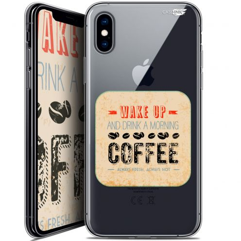 "Coque Crystal Gel Apple iPhone Xs / X (5.8"") Extra Fine Motif -  Wake Up With Coffee"