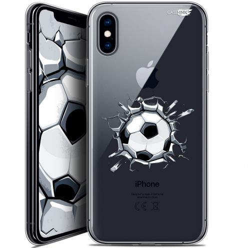 "Coque Crystal Gel Apple iPhone Xs / X (5.8"") Extra Fine Motif -  Le Balon de Foot"