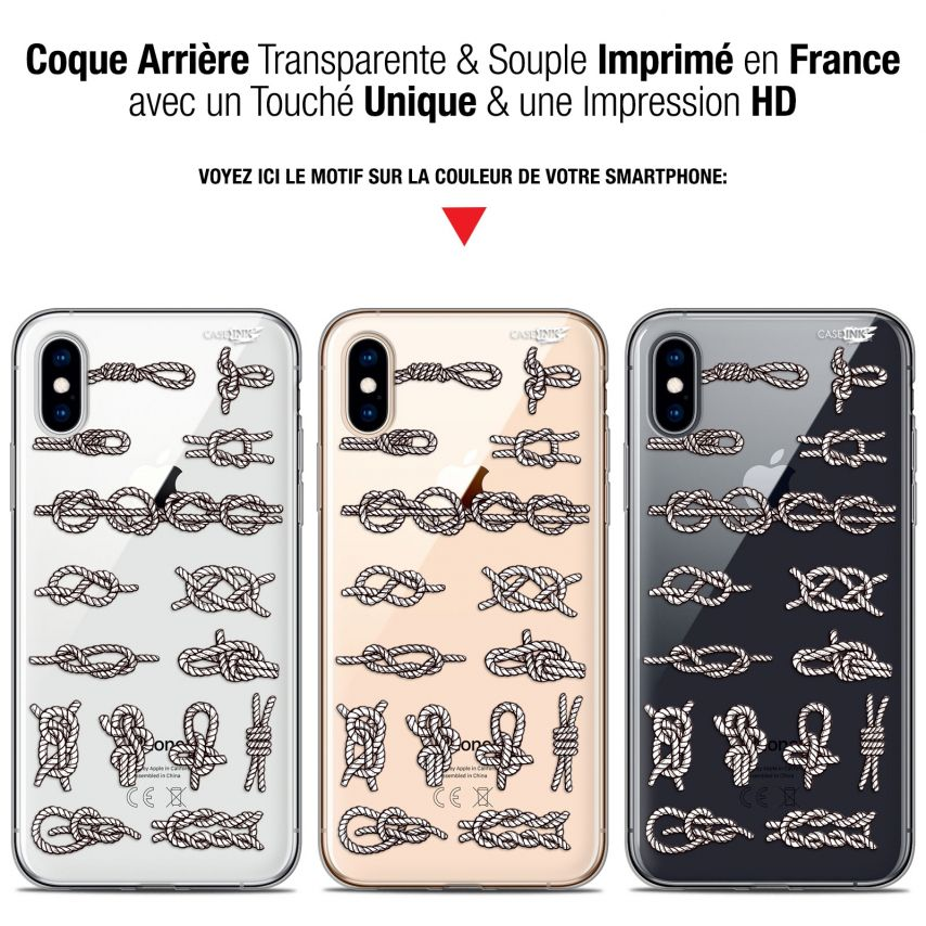 """Coque Crystal Gel Apple iPhone Xs / X (5.8"""") Extra Fine Motif - Les Noeux"""