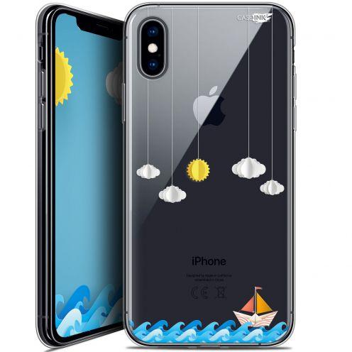 "Coque Crystal Gel Apple iPhone Xs / X (5.8"") Extra Fine Motif -  Petit Bateau en Mer"