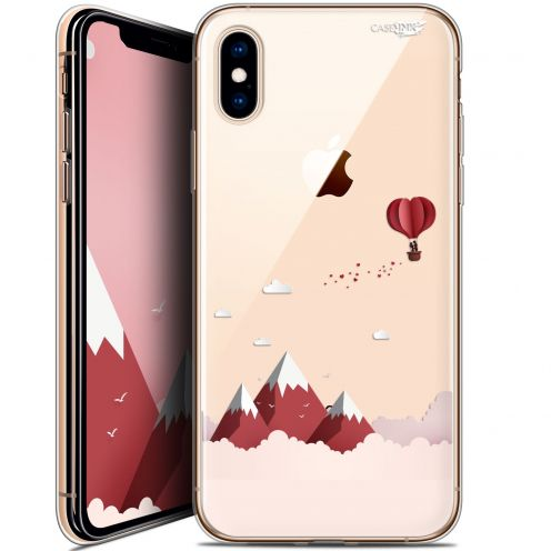 "Coque Crystal Gel Apple iPhone Xs / X (5.8"") Extra Fine Motif -  Montagne En Montgolfière"