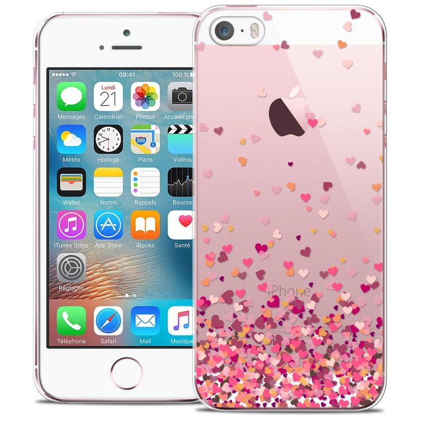 coque crystal iphone 5 5s se extra fine design made in france heart flakes. Black Bedroom Furniture Sets. Home Design Ideas