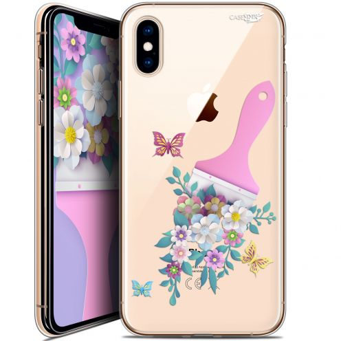 "Coque Crystal Gel Apple iPhone Xs / X (5.8"") Extra Fine Motif -  Pinceau à Fleurs"