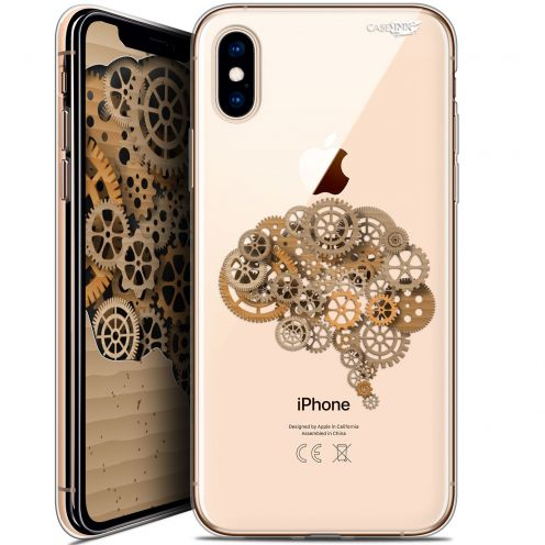 "Coque Crystal Gel Apple iPhone Xs / X (5.8"") Extra Fine Motif -  Mécanismes du Cerveau"
