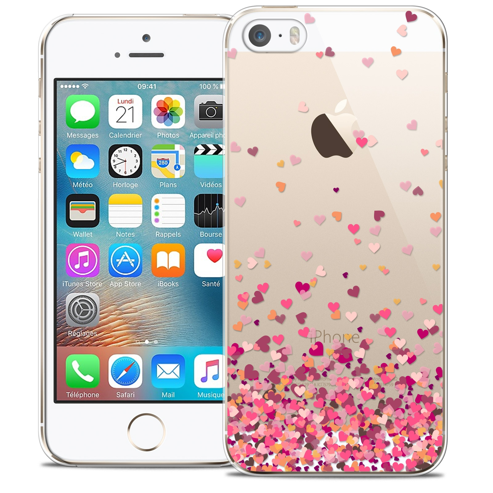 coque crystal iphone 5 5s se extra fine sweetie heart flakes