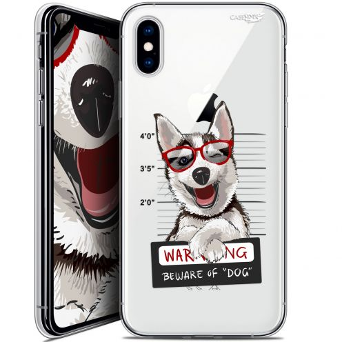 "Coque Crystal Gel Apple iPhone Xs / X (5.8"") Extra Fine Motif -  Beware The Husky Dog"